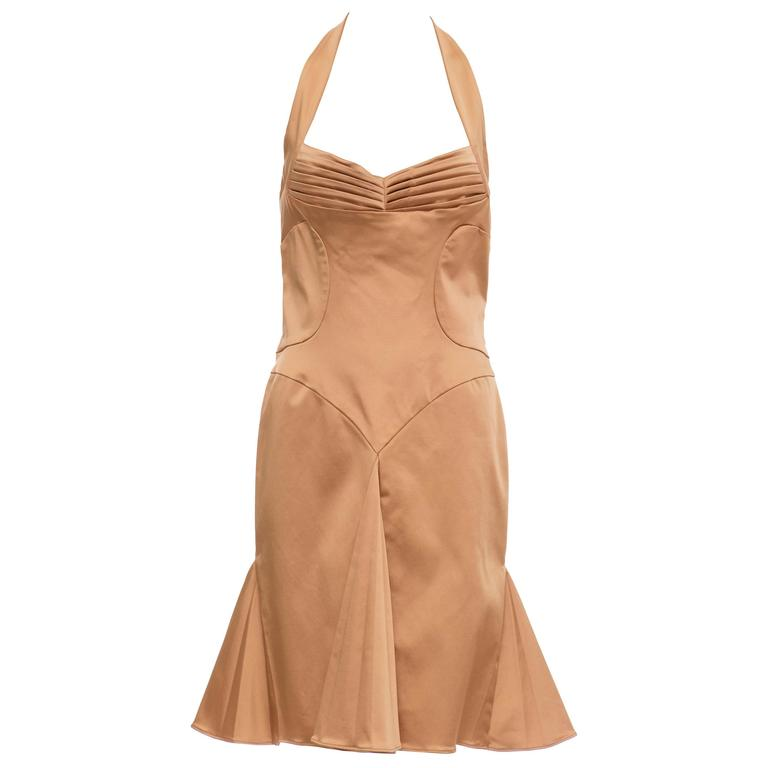 Zac Posen Bronze Silk Stretch Satin Xanadu Dress, Spring - Summer 2004