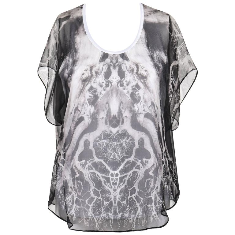 "ALEXANDER MCQUEEN c.2010 ""Tree Print"" Black Silk Chiffon Blouse White Tank Top"