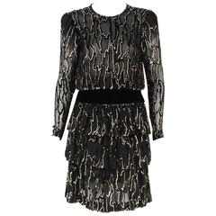 1979 Givenchy Haute-Couture Metallic Gold & Black Burnout Velvet Tiered Dress