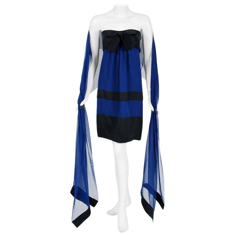 1992 Chanel Sapphire-Blue & Black Silk Strapless Bow Cocktail Dress w/ Shawl