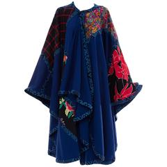 Koos Van Den Akker Royal Blue Cloak With Floral Quilted Patchwork, Circa 1980's