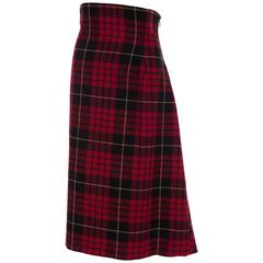 Alexander McQueen Red Wool Tartan Plaid High - Waisted Skirt, Fall 2006