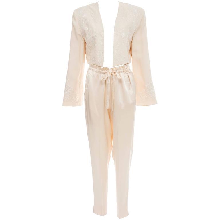 Donna Karan Cream Silk Embroidered Pant Suit, Circa 1980's