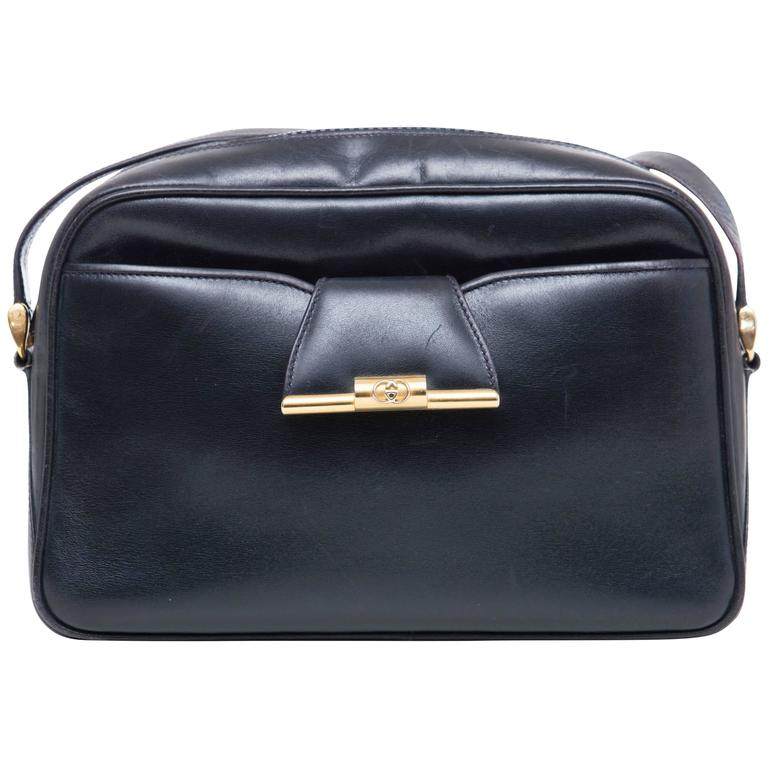 Gucci Navy Blue Leather Crossbody Bag With Detachable Wallet, Circa 1970's For Sale