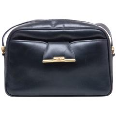 Gucci Navy Blue Leather Crossbody Bag With Detachable Wallet, Circa 1970's