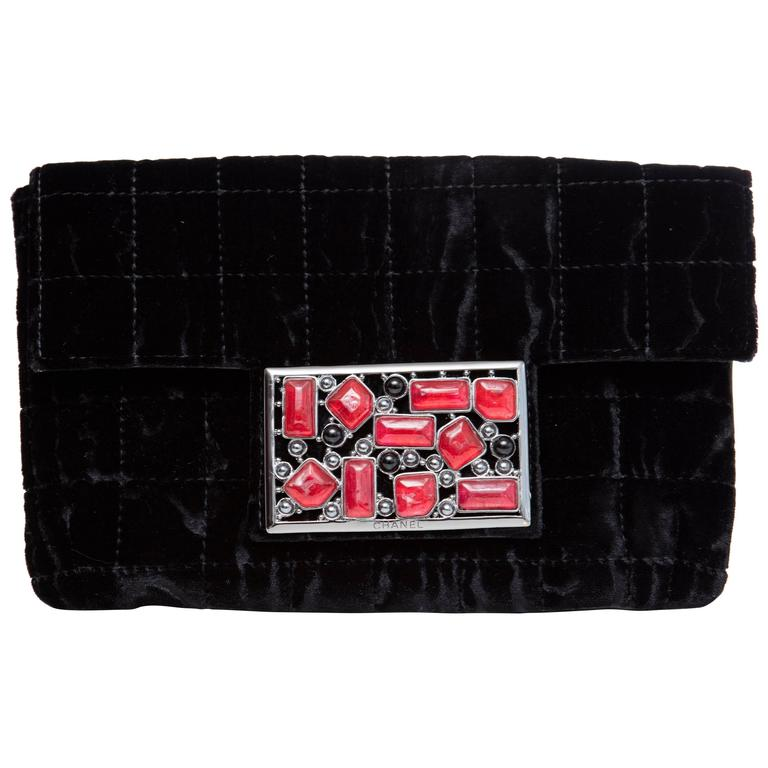 Chanel Black Quilted Velvet Evening Clutch With Gripoix Magnetic Snap Closure