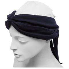 Maeve Carr For Donna Karan Navy Blue Jersey Turban, Circa 1980's