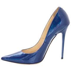 Jimmy Choo Blue Patent Glitter Leather Point Toe Pumps Sz 39.5