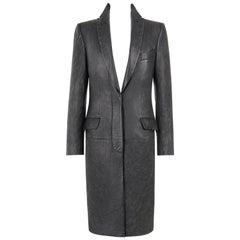 "ALEXANDER McQUEEN A/W 1998 ""Joan"" Long Black Genuine Leather Coat Overcoat"