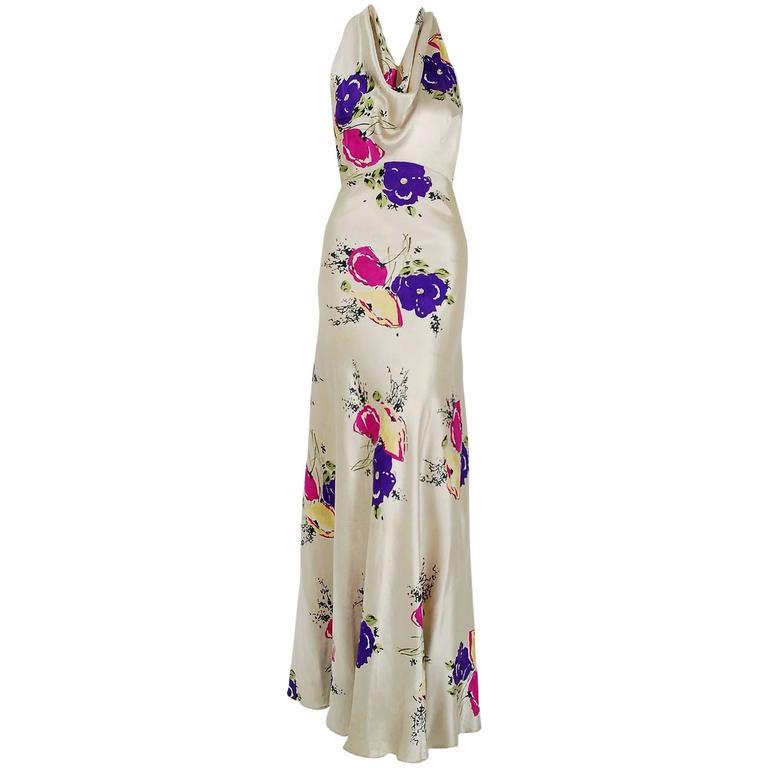 1930's Seductive Floral Garden Silk Satin Cowl-Neck Hourglass Bias-Cut Gown For Sale
