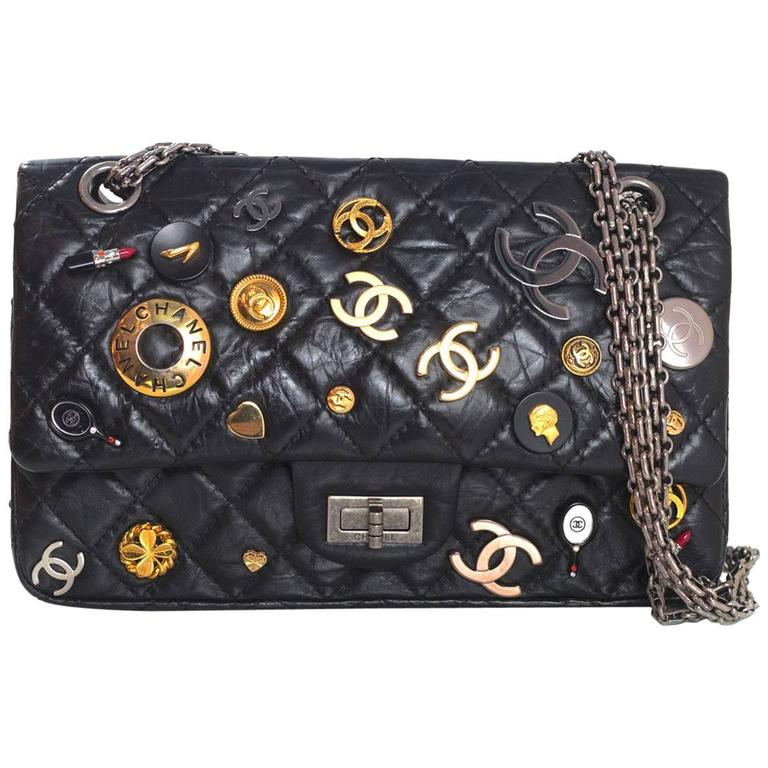 cf3fe2343c94 Chanel Black CC Lucky Charm 2.55 Reissue 225 Double Flap Bag For Sale
