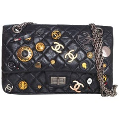 Chanel Black CC Lucky Charm 2.55 Reissue 225 Double Flap Bag