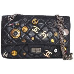 Chanel Rare Collector's Black CC Lucky Charm Reissue 2.55 Double Flap 225 Bag