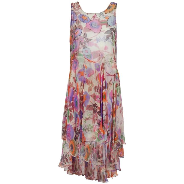 1920's French Couture Beaded Floral Silk-Chiffon Tiered Waterfall Flapper Dress 1