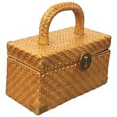 1960's Koret Golden Wicker Box Bag w/ Gold Hardware