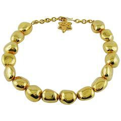 Christian Lacroix Vintage Gold Toned Nuggets Necklace