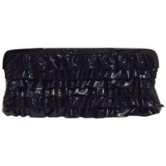 Valentino Patent Leather Ruffle Clutch