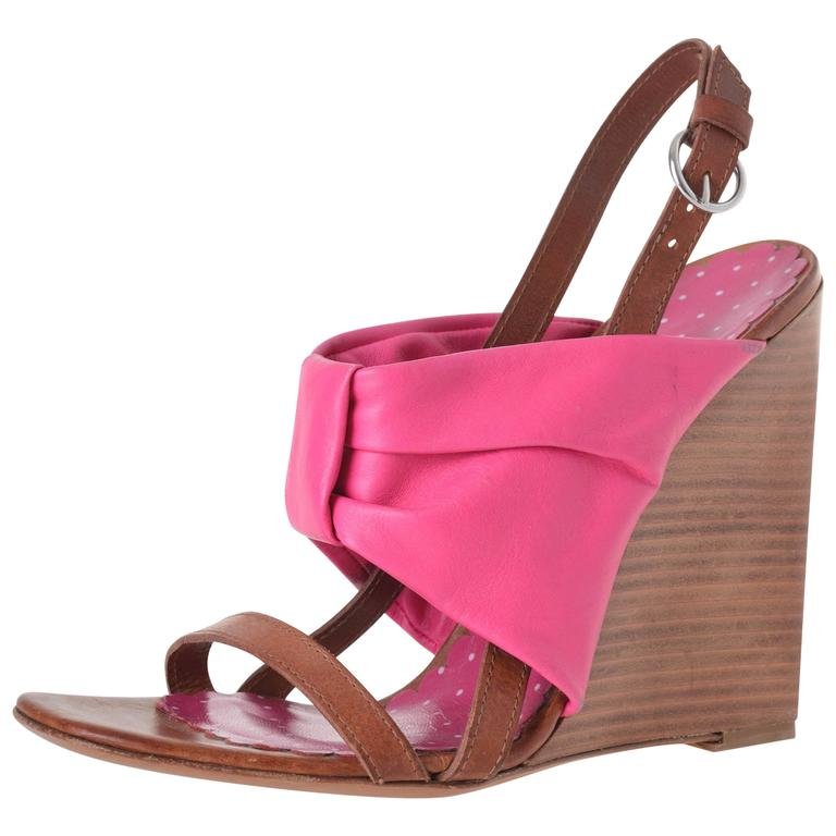 moschino cheap and chic fuchsia bow wedge sandals for sale