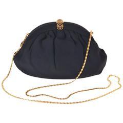 1950s PIROVANO Italian Couture Floral Black Silk Purse Handbag