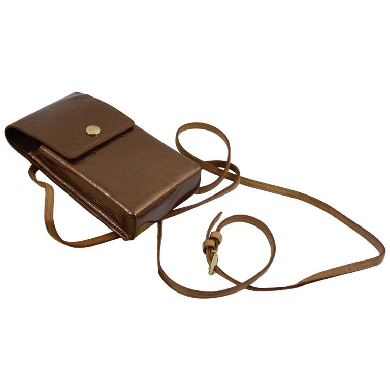 Louis Vuitton Bronze patented Leather Case with Crossbody Strap