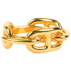 "Hermes Gold Plated Chain Link ""Regate"" Scarf Ring"
