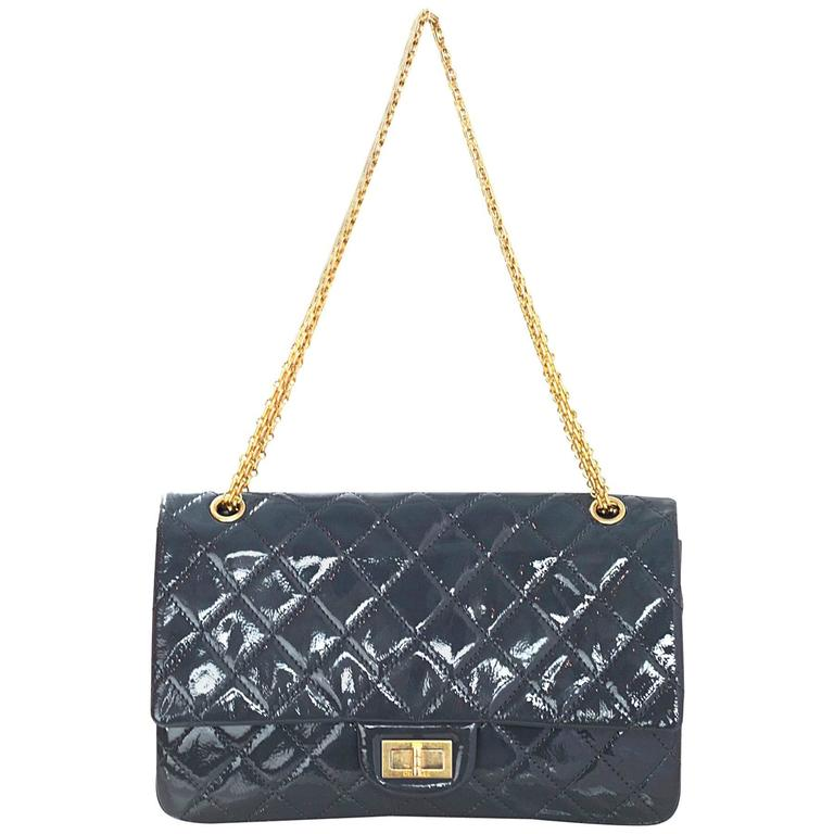 0332e14b999513 Chanel Grey Patent Leather Quilted 2.55 Reissue 227 Double Flap Classic Bag  For Sale