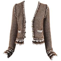 Chanel Autumn 2004 Brown & Metallic Silver Mohair Knit Buttoned Cardigan