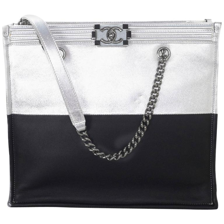 Chanel Black and Silver Leather Boy Tote Bag rt. $4,200 1
