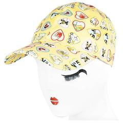 Chanel Yellow Multicolor Canvas 'COCO' Heart Print Baseball Hat