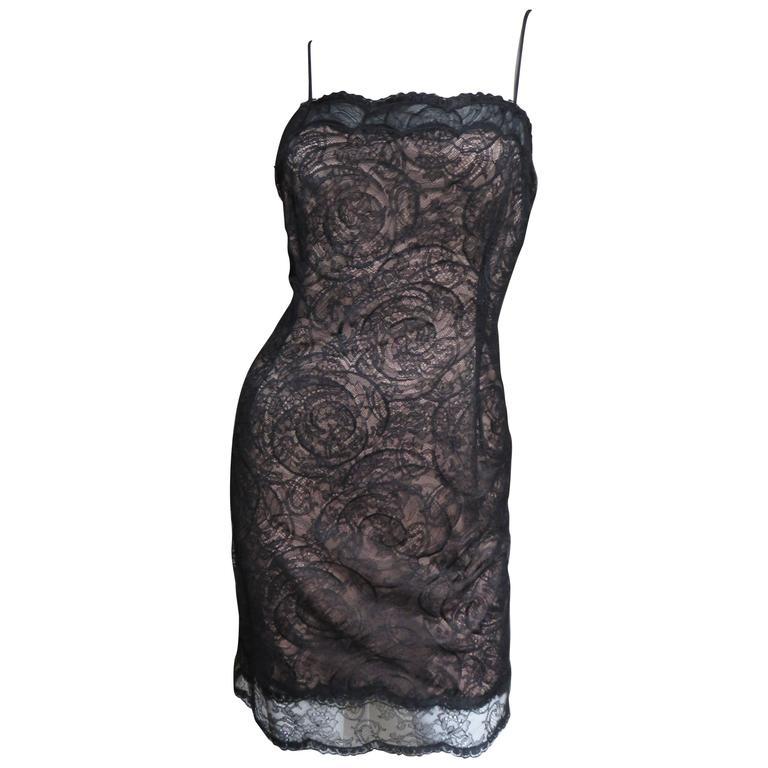 1980s Geoffrey Beene Silk Lace Slip Dress For Sale