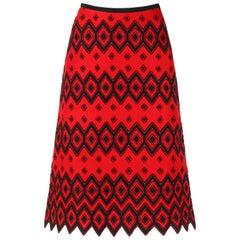 ANNE KLEIN c.1970's Red & Black Diamond Wool Felt A-line Skirt