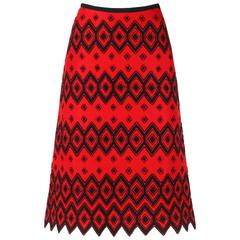 ANNE KLEIN c.1970's Red & Black Diamond Wool Felt A-line Skirt