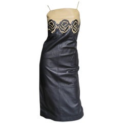 1990s Gianni Versace Leather Colorblock Dress  with Applique Roses