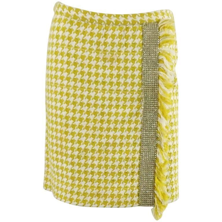 Dolce & Gabbana Yellow and White Houndstooth Skirt with Rhinestones - 38
