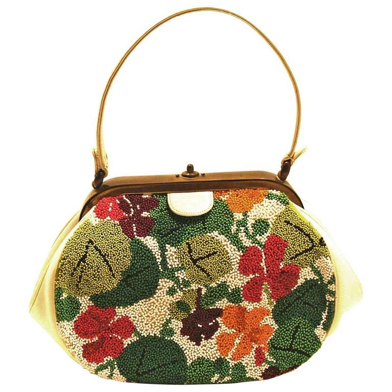 Nettie Rosenstein Abstract Modern Floral Design Purse