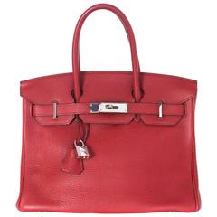 Hermes Red Clemence Leather 30cm Birkin Bag PHW