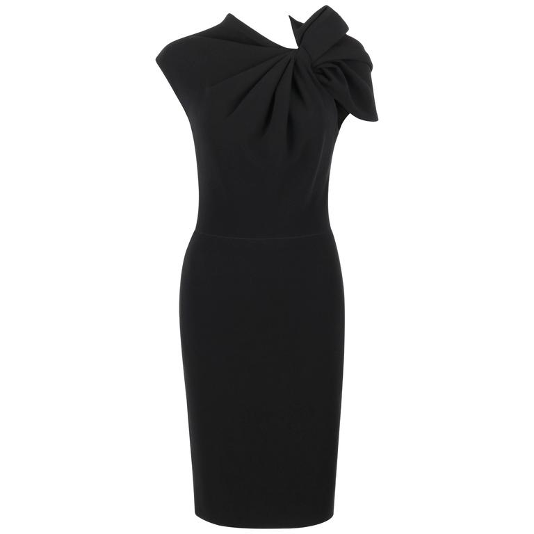 LANVIN A/W 2009 Black Neoprene Stretch Twist Bow Sheath Cocktail Dress