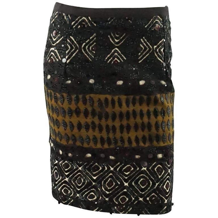 Oscar de la Renta Brown Embroidered and Tribal Beaded Skirt - 2