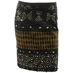 Oscar de la Renta Brown Embroidered and Tribal Beaded Skirt - 2