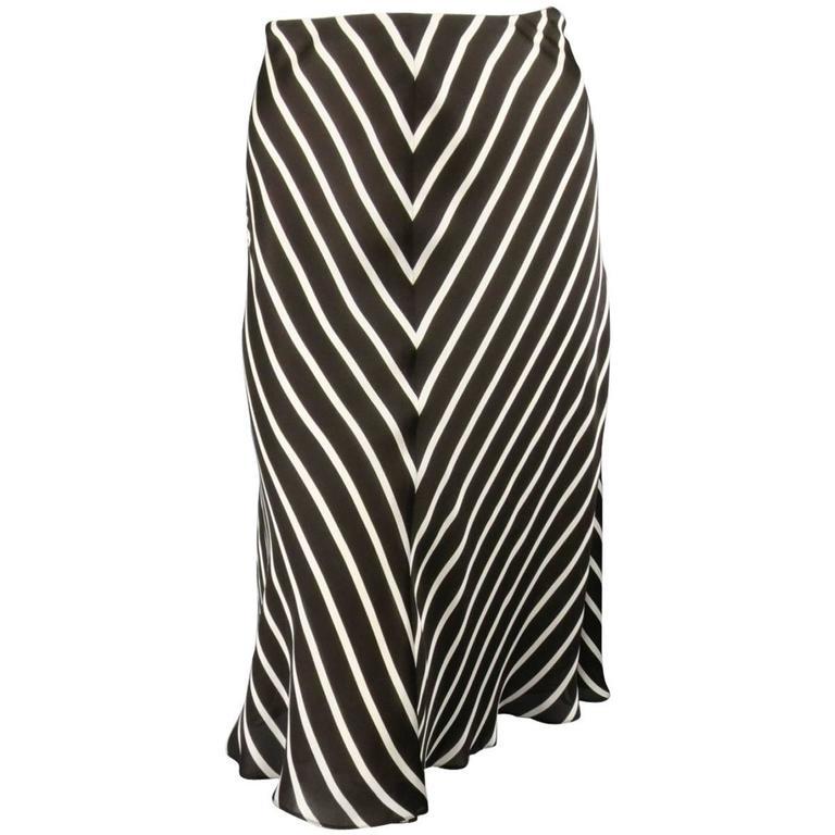 RALPH LAUREN Collection Size 8 Brown & White Striped Silk A Line Skirt