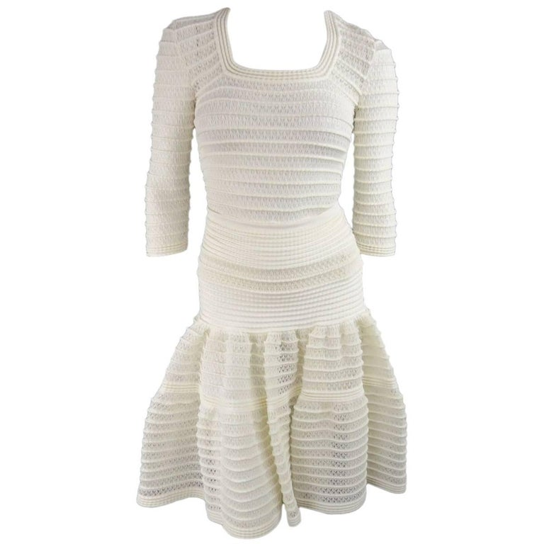 ALAIA Size M Cream Mesh Knit Scoop Neck Ruffle Skirt Set For Sale