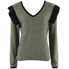 Sonia Rykiel Black and Tan Striped Cashmere Ruffle Sweater - 42 - 1990's