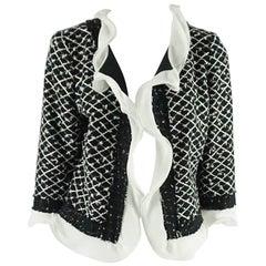 Oscar de la Renta Black and White Tweed Jacket - 10