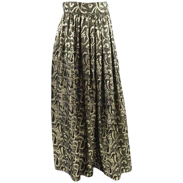 dccb9d2adb1 Dolce and Gabbana Gold and Bronze Silk Brocade Maxi Skirt - S For ...