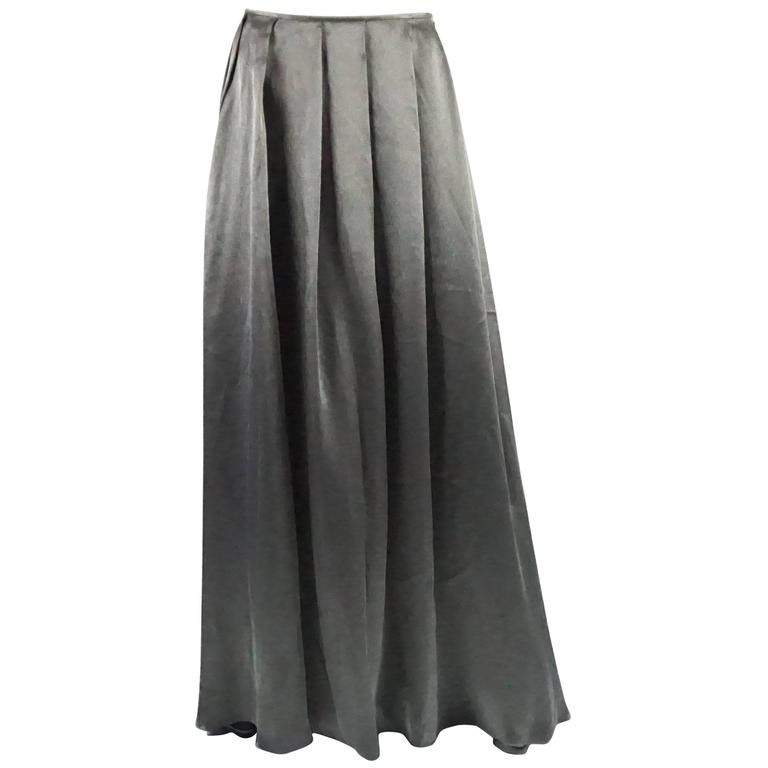 Valentino Grey Metallic Silk Maxi Skirt - 12 For Sale