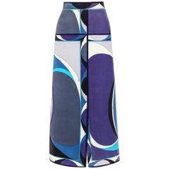 EMILIO PUCCI c.1960's Blue Velvet Signature Windowpane Print Maxi Skirt