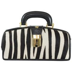 Pratesi Black and White Pony Hair Top Handle Bag