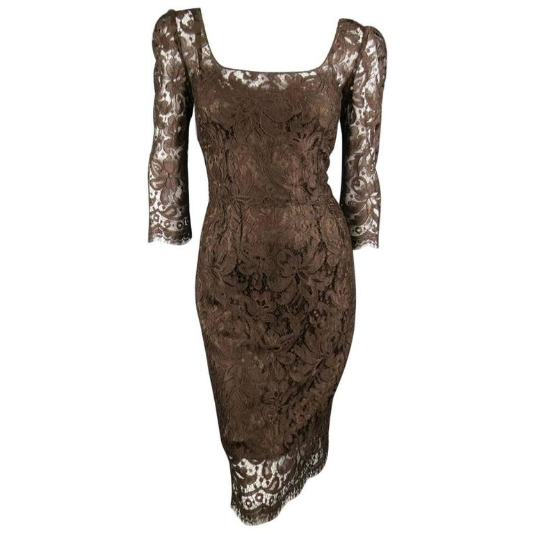 DOLCE & GABBANA Size 8 Brown Lace Scoop Neck 3/4 Sleeve Cocktail Dress 1
