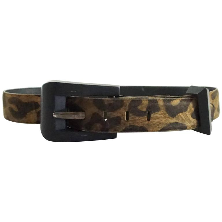 Patricia Von Musulin Animal Print Suede Belt with Wooden Buckle  1