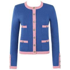 CHANEL S/S 2013 True Blue & Pink Four Pocket Cashmere Bi-color Classic Cardigan